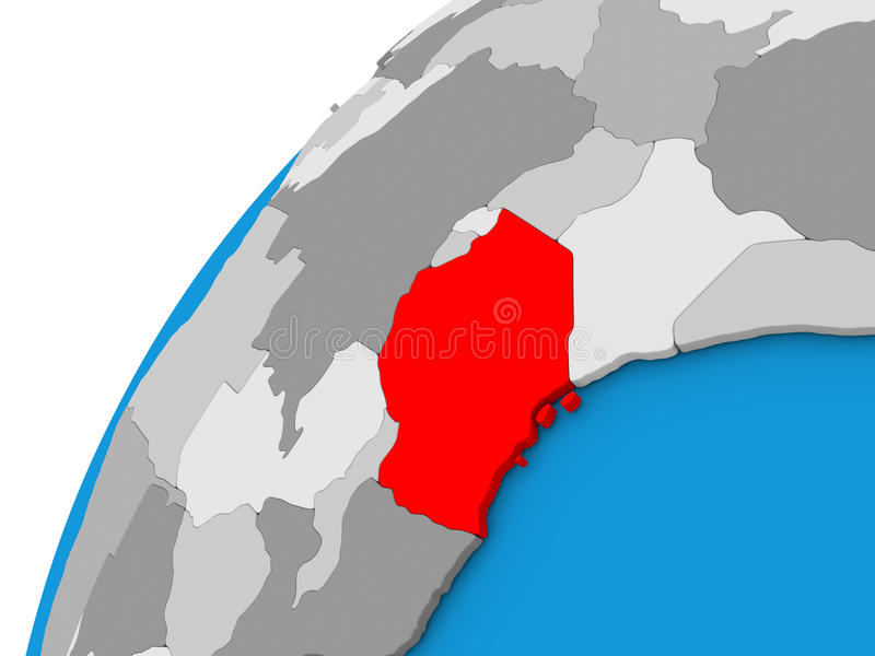Tanzania on globe in red. Tanzania highlighted in red on globe with visible country borders. 3D illustration royalty free illustration
