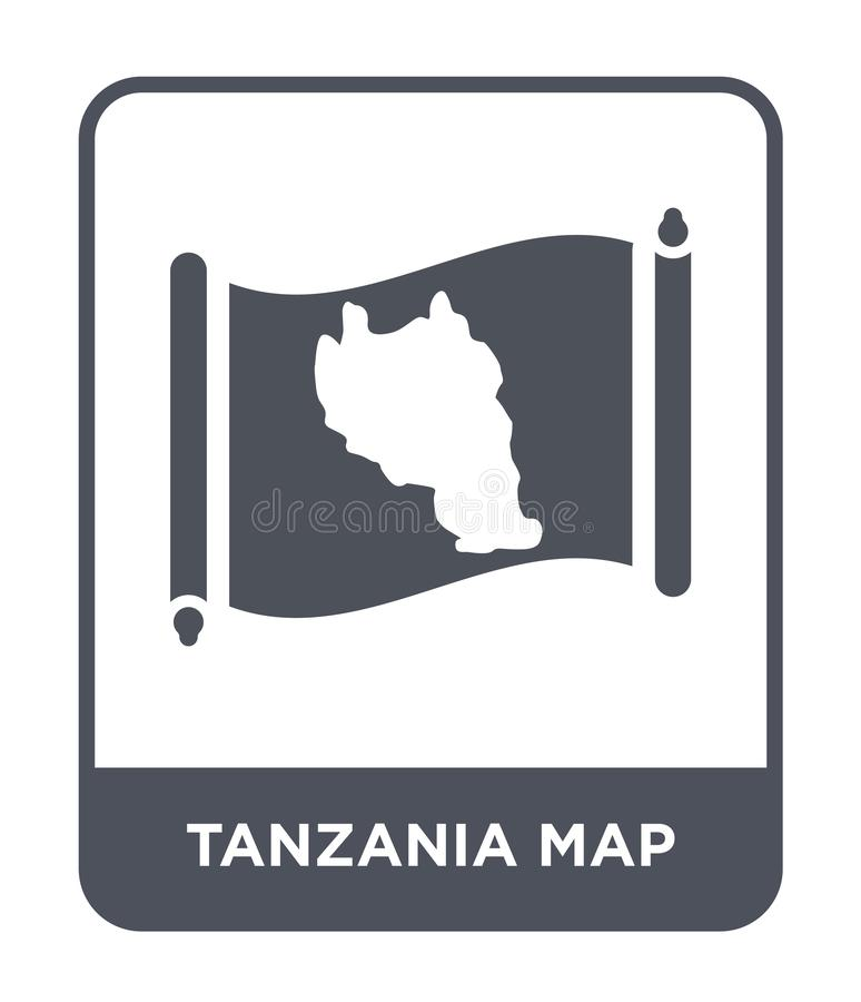 Tanzania map icon in trendy design style. tanzania map icon isolated on white background. tanzania map vector icon simple and. Modern flat symbol for web site vector illustration