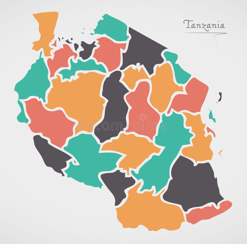 Tanzania Map with states and modern round shapes. Illustration vector illustration