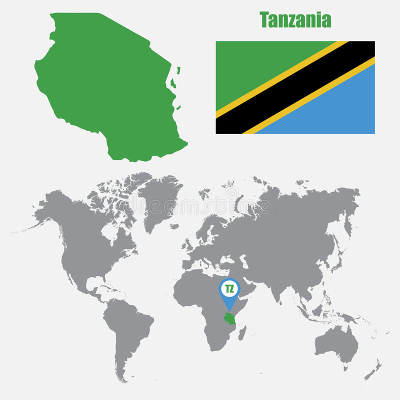 Tanzania Map On A World Map With Flag And Map Pointer Vector