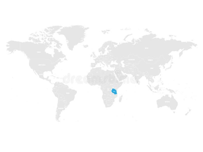 Tanzania marcó por el azul en mapa político del mundo gris Ilustración del vector stock de ilustración
