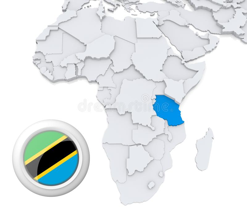 Tanzania na Afryka mapie ilustracji