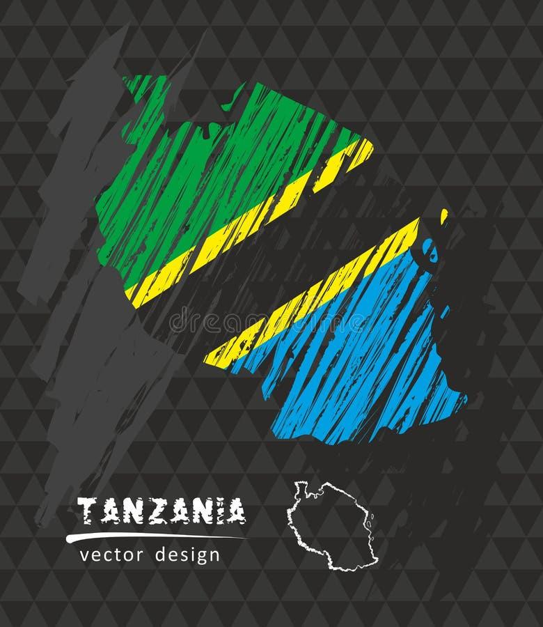 Tanzania national vector map with sketch chalk flag. Sketch chalk hand drawn illustration royalty free illustration