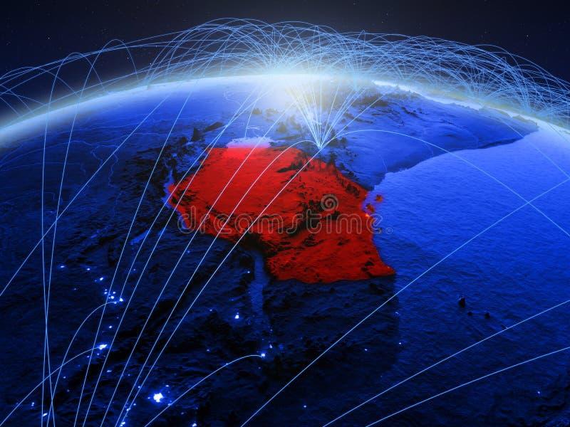 Tanzania op blauwe digitale aarde met internationaal netwerk die mededeling, reis en verbindingen vertegenwoordigen 3d royalty-vrije stock foto