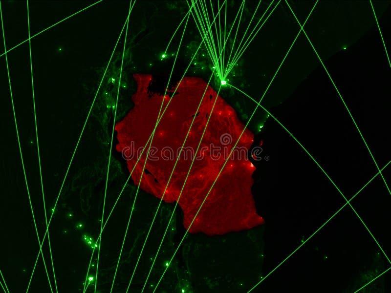 Tanzania på grön översikt arkivfoto