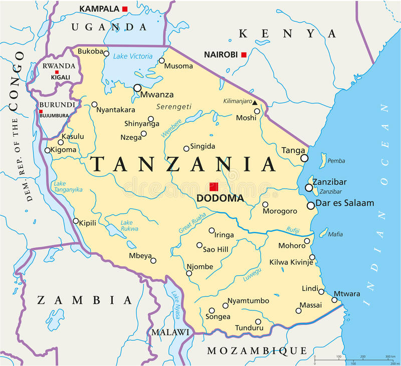 Tanzania Polityczna mapa royalty ilustracja