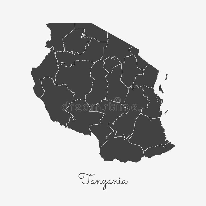 Tanzania Region Map Grey Outline On White Stock Vector