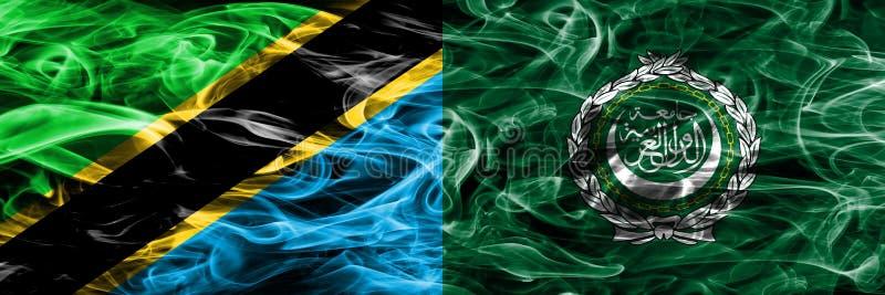 Tanzania vs Arabskiego ligi dymu flaga umieszczająca strona strona - obok - Gęste barwione silky dymne flagi Tanzański i Arabski  ilustracji