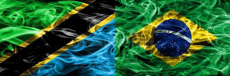 Tanzania vs Brazil, Brazilian smoke flags placed side by side. Thick colored silky smoke flags of Tanzanian and Brazil, Brazilian vector illustration