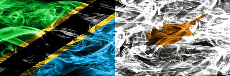 Tanzania vs Cypr, cypryjczyka dymu flaga umieszczająca strona strona - obok - Gęste barwione silky dymne flagi tanzańczyk i Cypr, royalty ilustracja