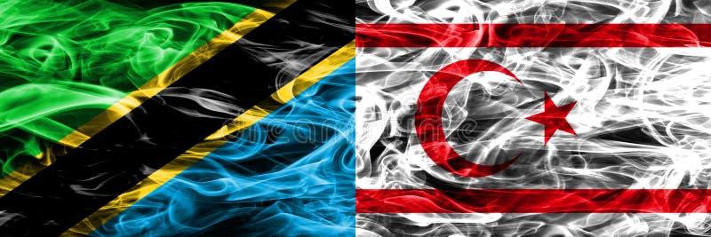 Tanzania vs Północne flagi umieszczająca Cypr dymu strona strona - obok - Gęste barwione silky dymne flagi Tanzański i Północny C ilustracja wektor