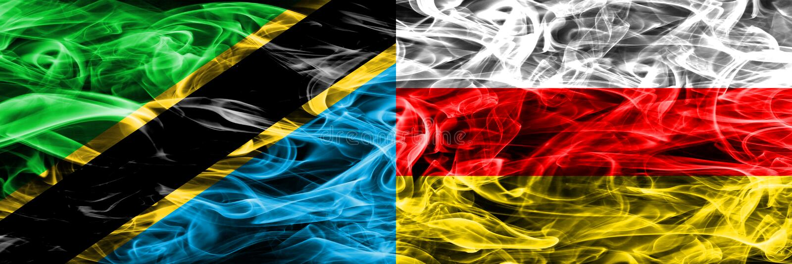 Tanzania vs South Ossetia smoke flags placed side by side. Thick colored silky smoke flags of Tanzanian and South Ossetia.  stock photography