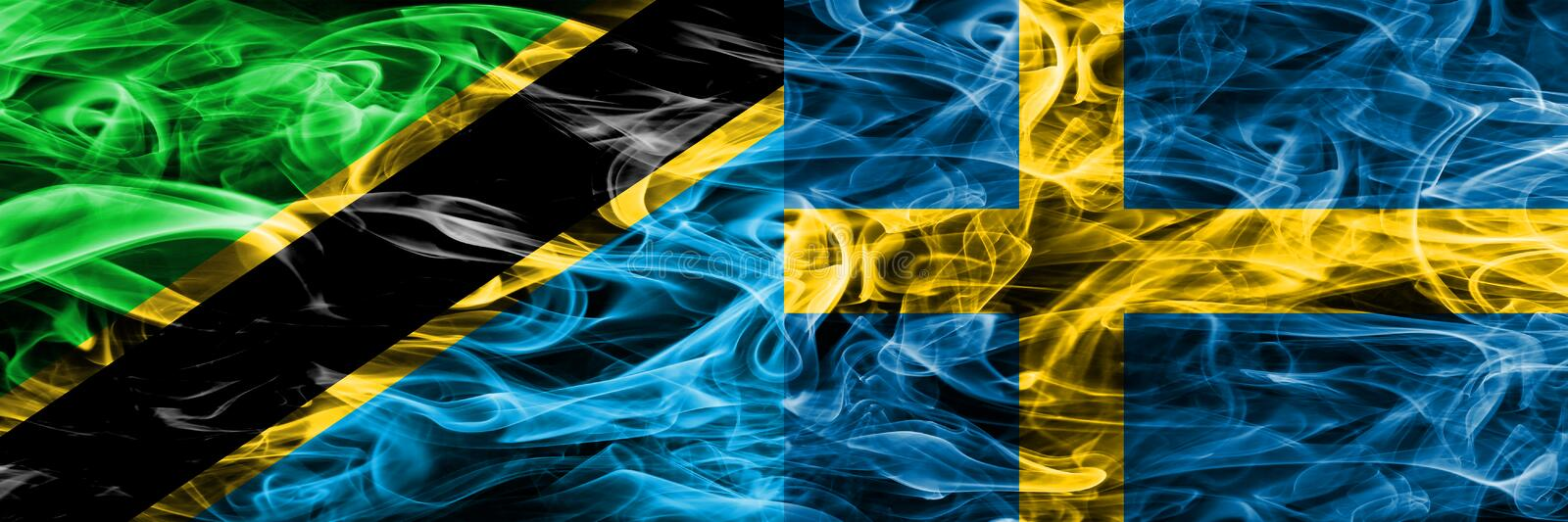 Tanzania vs Sweden, Swedish smoke flags placed side by side. Thick colored silky smoke flags of Tanzanian and Sweden, Swedish stock image