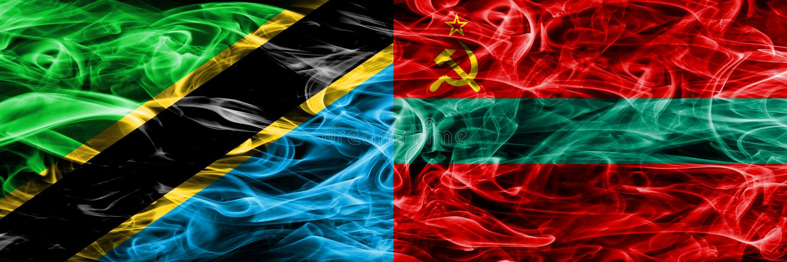 Tanzania vs Transnistria smoke flags placed side by side. Thick colored silky smoke flags of Tanzanian and Transnistria.  stock photography