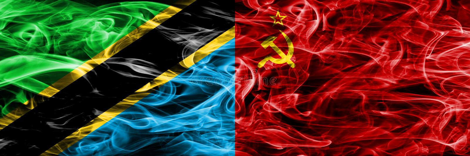 Tanzania vs USSR, Communist smoke flags placed side by side. Thick colored silky smoke flags of Tanzanian and USSR, Communist.  stock photography