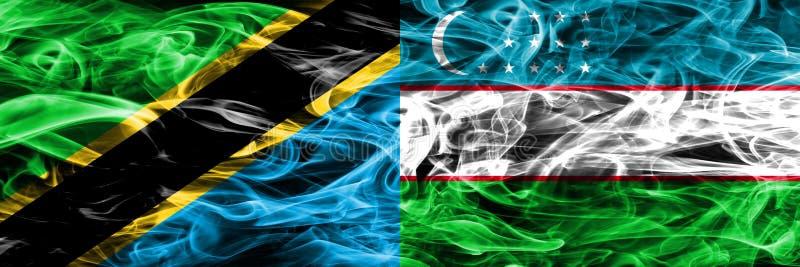 Tanzania vs Uzbekistan, Uzbek smoke flags placed side by side. Thick colored silky smoke flags of Tanzanian and Uzbekistan, Uzbek.  royalty free stock images