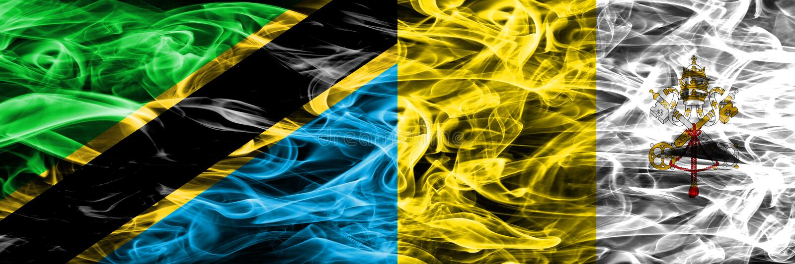 Tanzania vs Vatican city smoke flags placed side by side. Thick colored silky smoke flags of Tanzanian and Vatican city.  royalty free stock photo