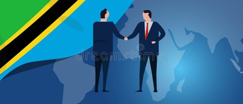 Tanzania zawody międzynarodowi partnerstwo Dyplomaci negocjacja Biznesowego związku zgody uścisk dłoni Kraj flaga i ilustracja wektor