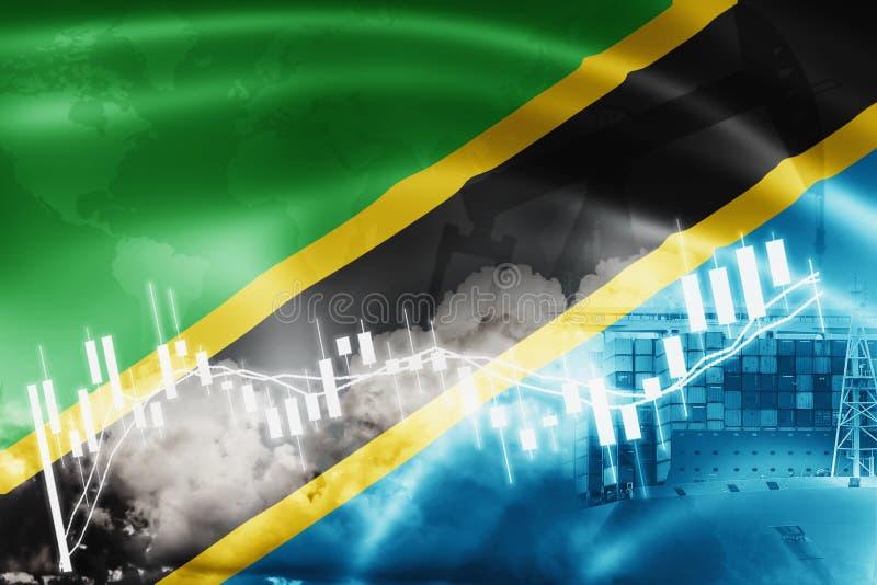Tanzaniaanse vlag, effectenbeurs, uitwisselingseconomie en Handel, olieproductie, containerschip in de uitvoer en de invoerzaken  royalty-vrije illustratie