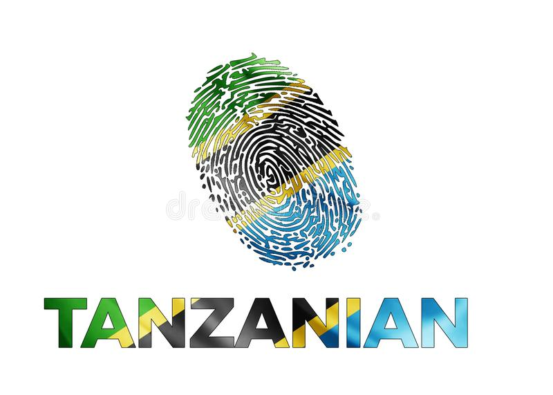 Tanzanian fingerprint with a flag royalty free stock images