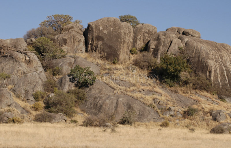 Tanzanian rocks. Beautiful tanzanian rocks against a blue sky stock images