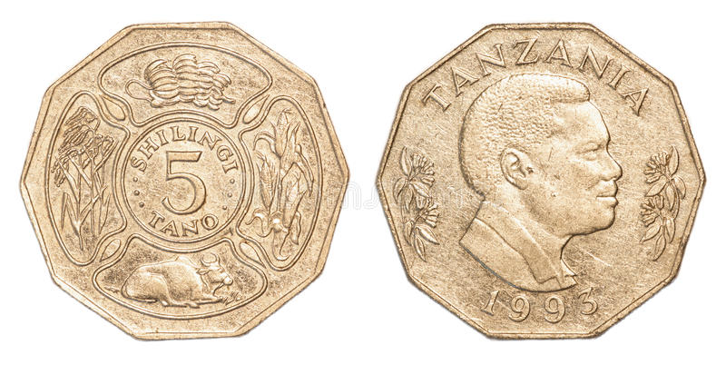 100 Tanzanian shilling coin. Isolated on white background royalty free stock image
