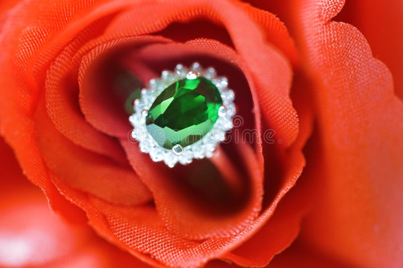 Tanzanian tsavorite green garnet oval gemstone rare colour Dark green floating ring with diamond Placed on red roses. Beautiful royalty free stock image