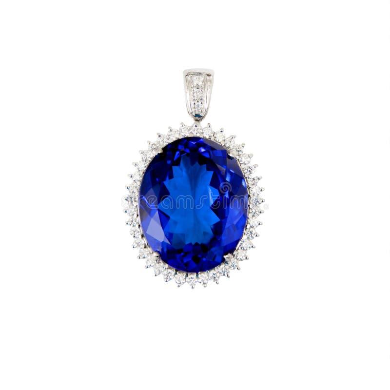 Tanzanite blå Gemstone, hänge, med diamanter arkivbilder