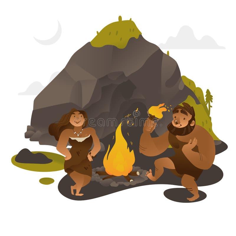 Tanzen der alten Leute um Feuer nahe Felsen im Steinzeitalter lizenzfreie abbildung