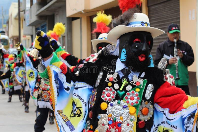 Tanzen der Bruderschaft des Negritos von Peru lizenzfreie stockbilder