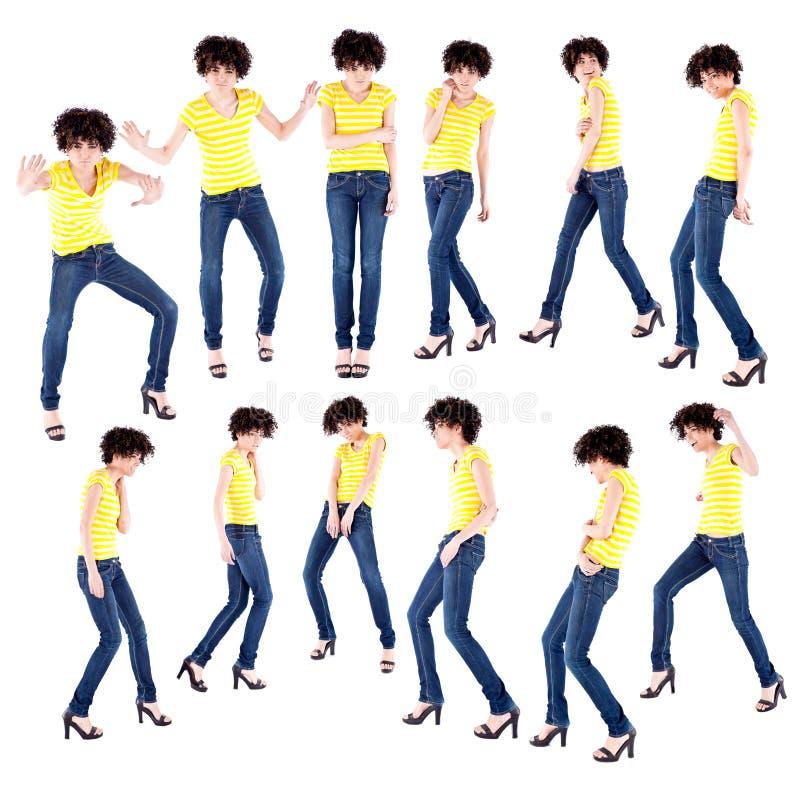 Tanzen der jungen Frau in den Geisterbildern stockfotografie