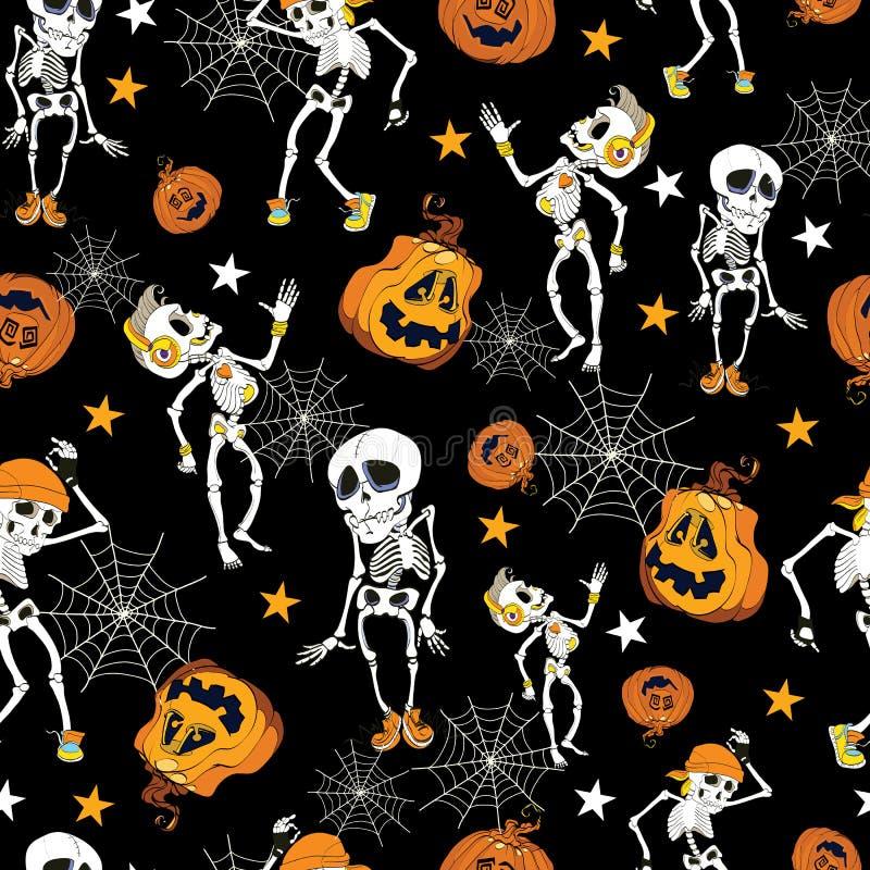 Tanzen-Halloween-Skelett- und -kürbismuster vektor abbildung