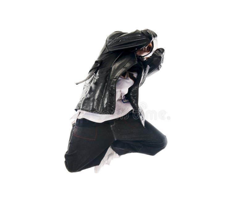 Tanzen Hip-hopjunger Mann auf Weiß stockfoto
