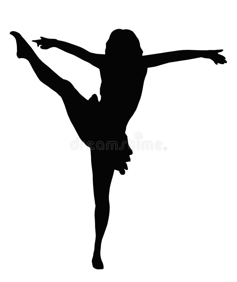 Tanzen-Mädchen-hoher Stoß vektor abbildung