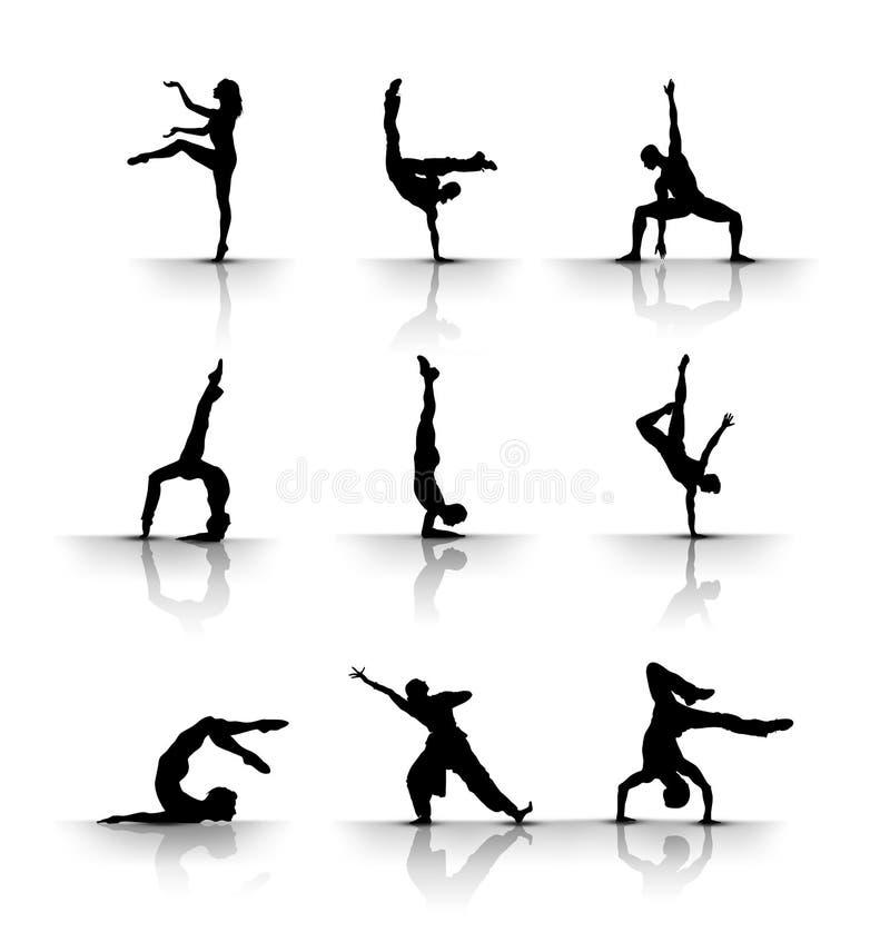 Tanzen u. gymnastisch stock abbildung