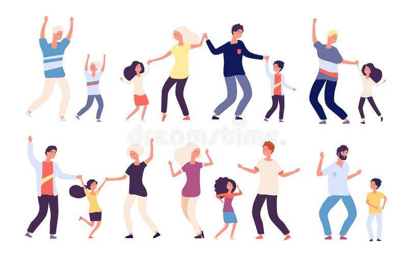 Tanzende Eltern mit Kindern Glückliche Kinder Vati und Muttertanzfamilienfrauenmannkindertänzer Lokalisierte Vektorkarikatur stock abbildung