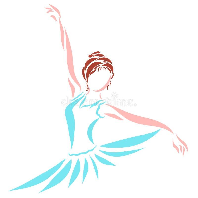 Tanzende junge hübsche Frau, Ballerina vektor abbildung
