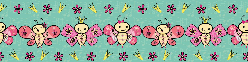Tanzende Schmetterlingsgrenze netter rosa Handgezogener Kawaii-Art Nahtloses Vektormuster auf strukturierten musikalischen Anmerk stock abbildung