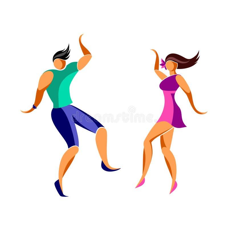 Tanzender junger schlanker Mann und Frau lizenzfreie abbildung
