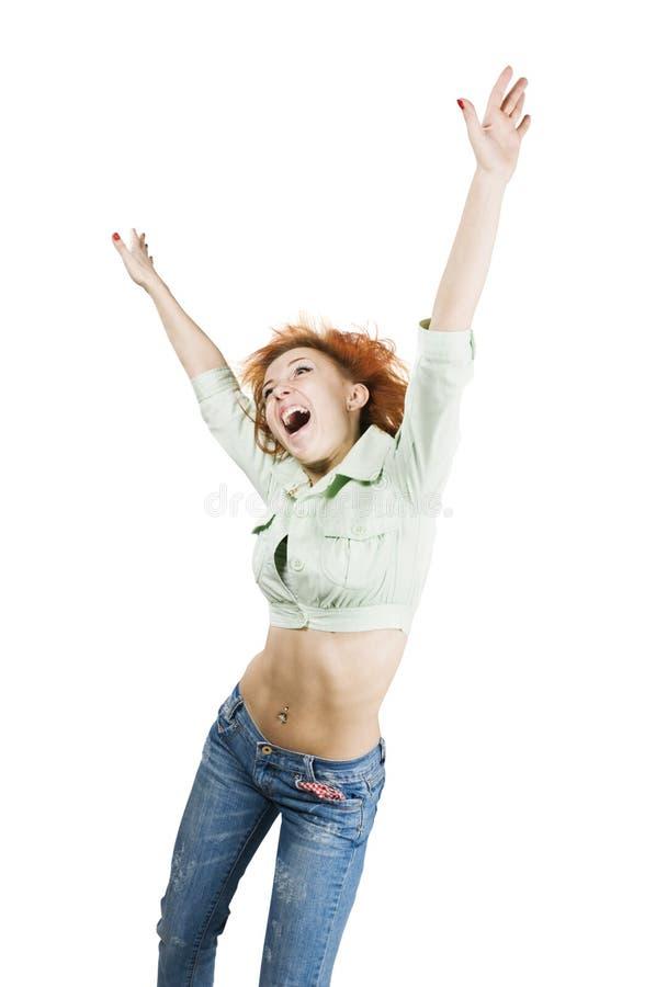 Tanzendes rotes Mädchen lizenzfreie stockfotografie