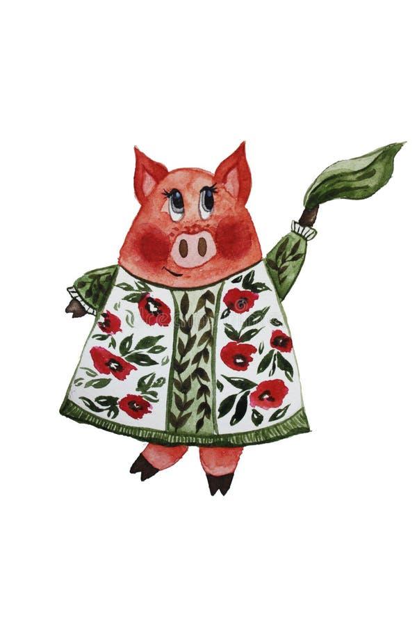 Tanzendes Schwein in einem Kleid lizenzfreie abbildung