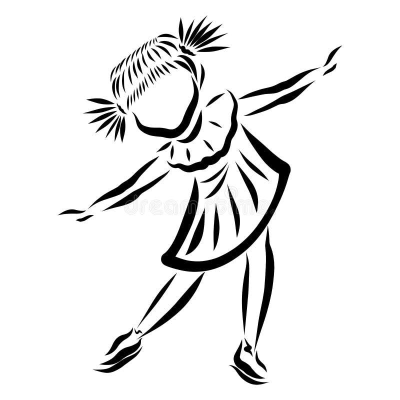 Tanzeneislauf des kleinen Mädchens, schwarzes Muster vektor abbildung