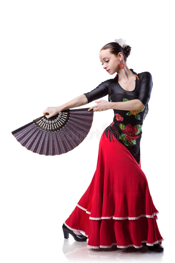 Tanzenflamenco der jungen Frau getrennt auf Weiß lizenzfreies stockfoto