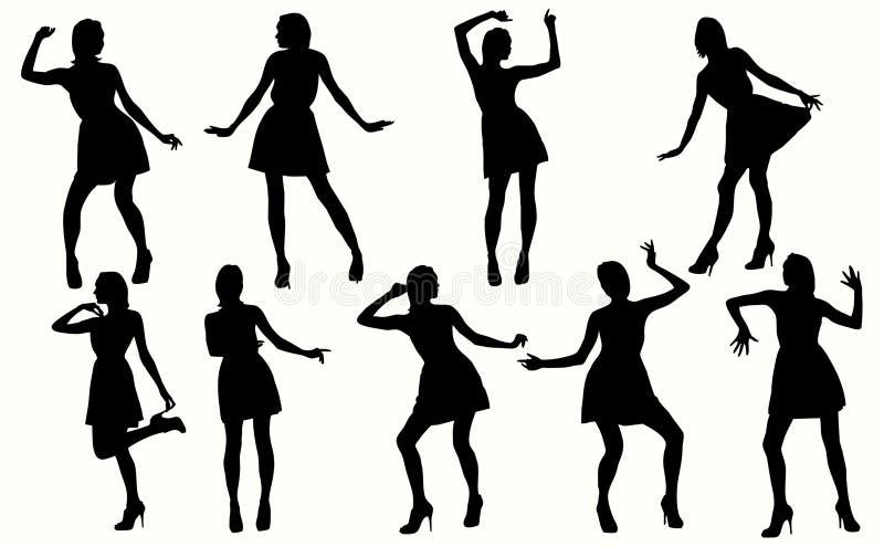 Tanzenfrauenschattenbilder vektor abbildung