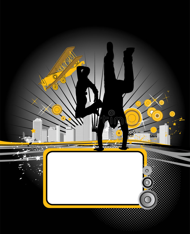 Tanzenjugendmänner. Musikstadt. vektor abbildung