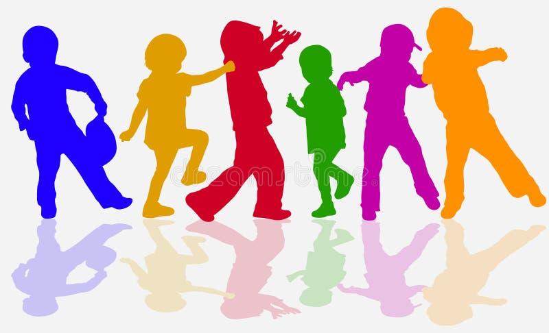 Tanzenkinderschattenbilder lizenzfreie abbildung