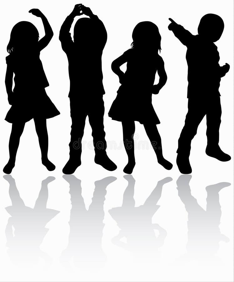 Tanzenkinderschattenbilder vektor abbildung