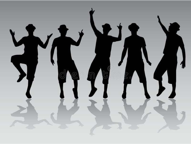Tanzenmannschattenbilder lizenzfreie abbildung