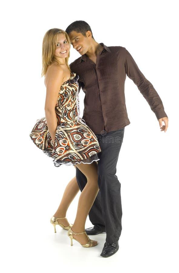 Tanzenpaare auf Weiß lizenzfreie stockfotos