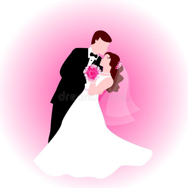 Tanzenpaare mit rosafarbenem Hintergrund vektor abbildung